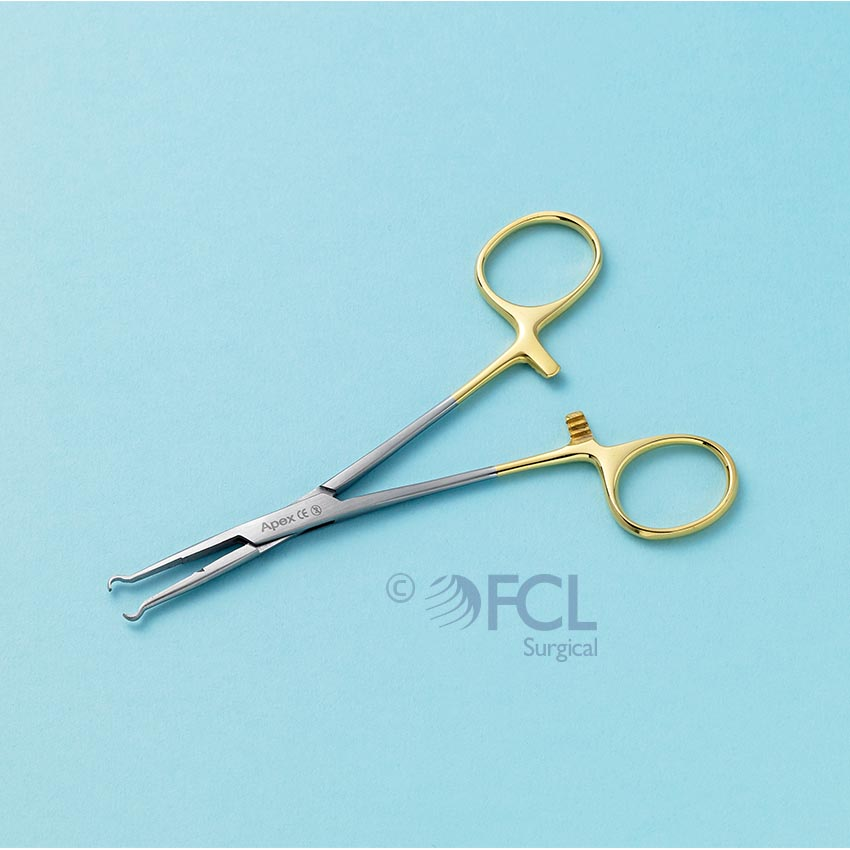 Forcep Vasectomy ring 3.5mm, gold handle, length 15cm
